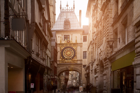 Sunset view of Gros Horloge - astronomical clock in Rouen, France