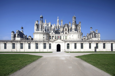 Chateau de Chambord, royal medieval castle, view of the main entrance.
