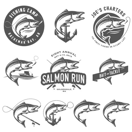 fishing catches: Vintage salmon fishing emblems and design elements