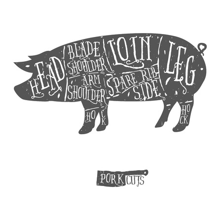 meat on grill: American cuts of pork, vintage typographic hand-drawn butcher cuts scheme Illustration