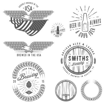 Vintage craft beer brewery emblems, labels and design elements Vector