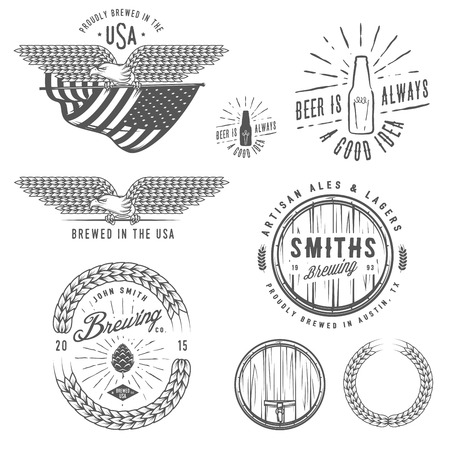 malt: Vintage craft beer brewery emblems, labels and design elements