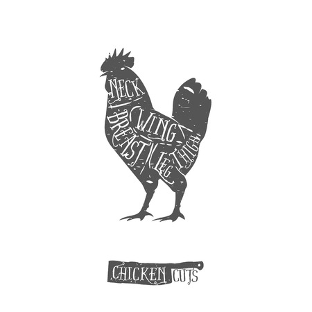 Vintage typographic chicken butcher cuts diagram