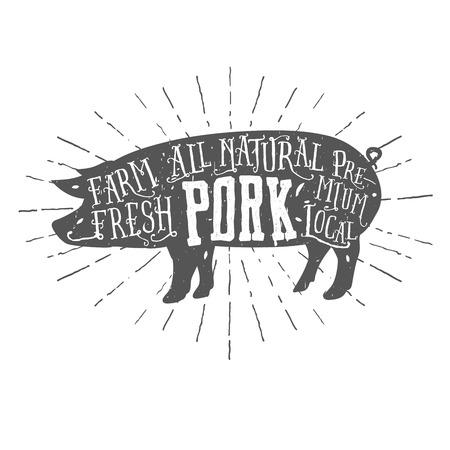 cerdos: Etiqueta de la carne de cerdo de alta calidad tipogr�fica de la vendimia