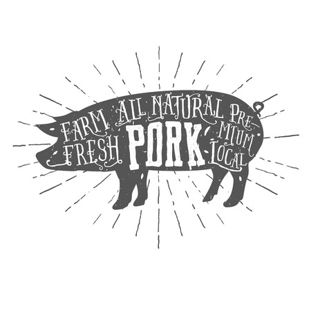 carnicer�a: Etiqueta de la carne de cerdo de alta calidad tipogr�fica de la vendimia