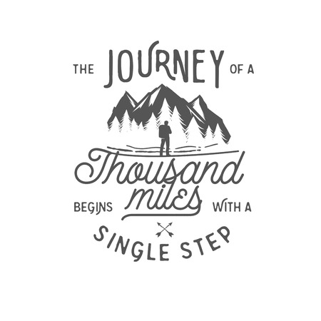 camping: Wilderness quote typographic emblem