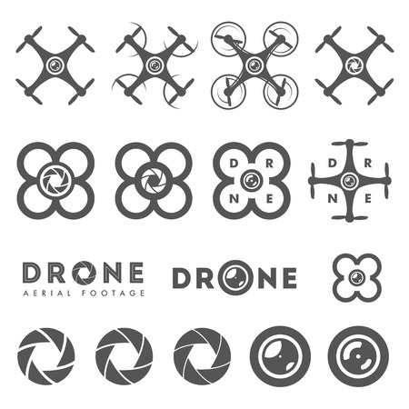 helicopter pilot: Set of aerial drone footage emblems and icons Illustration