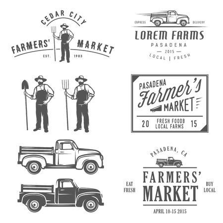 camión: Etiquetas agrícolas Vintage, insignias y elementos de diseño