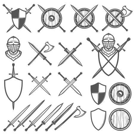 sword fight: Set of medieval swords, shields and design elements