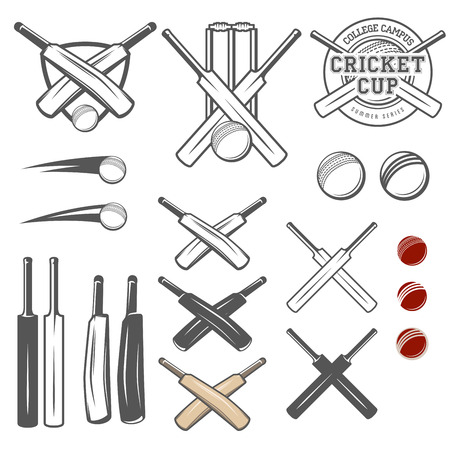 team sport: Set of cricket team emblem design elements
