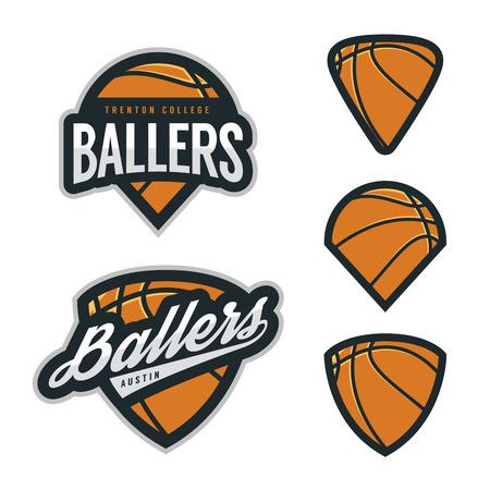 Conjunto de equipo de baloncesto emblema fondos