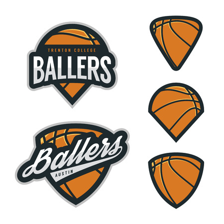 Set of basketball team emblem backgrounds