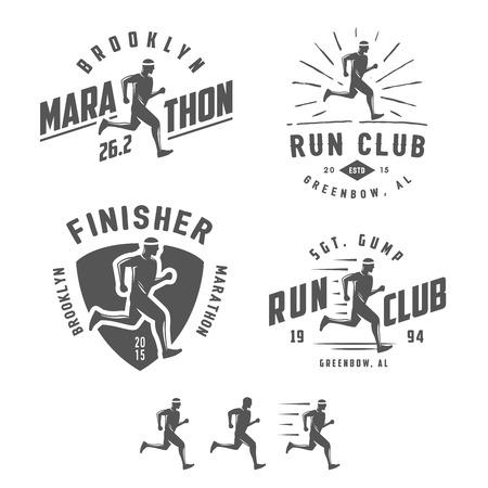 running: Conjunto de etiquetas de club de corredores vintage, emblemas y elementos de diseño
