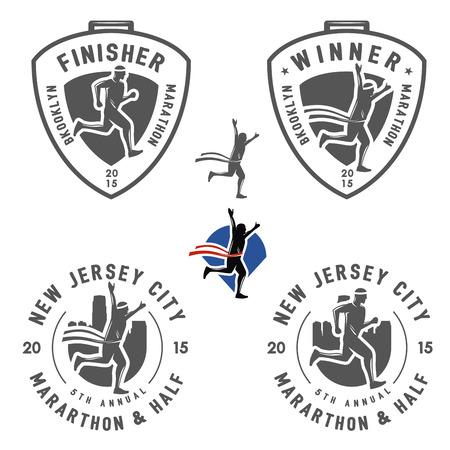 ビンテージ マラソン ラベル、メダルおよびデザイン要素のセット