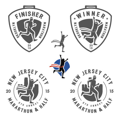 marathon running: Set of vintage marathon labels, medals and design elements Illustration