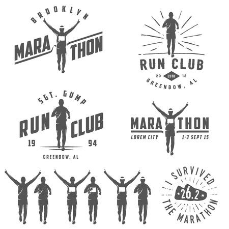 running: Conjunto de etiquetas del club corrida vintage, emblemas y elementos de diseño
