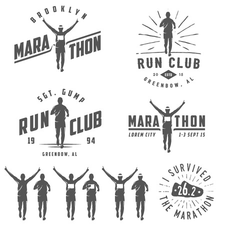 vítěz: Sada vintage run klubu štítky, emblémy a designové prvky