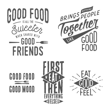 Vintage food related typographic quotes Vettoriali