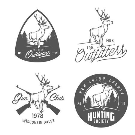 cazador: Conjunto de la vendimia al aire libre etiquetas, escudos y elementos de diseño