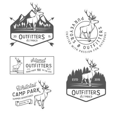 Set of vintage outdoors labels, badges and design elements  イラスト・ベクター素材