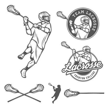 Set of lacrosse design elements Illustration