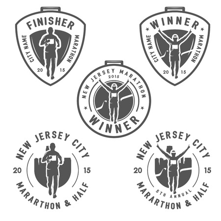 빈티지 마라톤의 설정은 메달과 디자인 요소 레이블