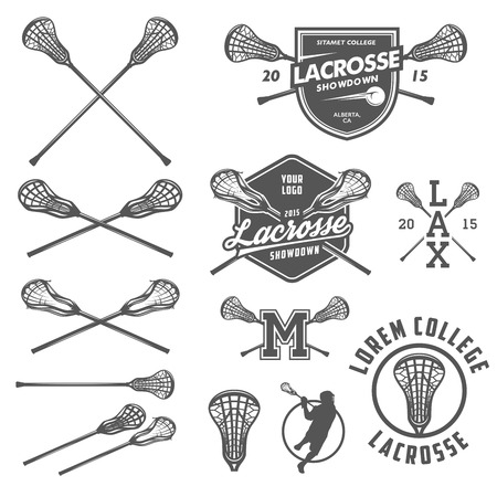 Set of lacrosse design elements Stock Illustratie