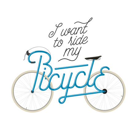 Abstract bicycle illustration with quote frame forms the word Bicycle