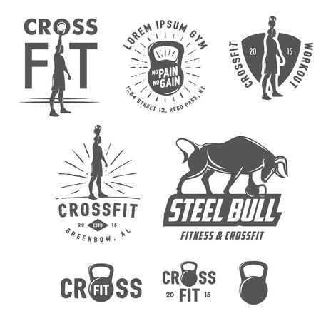 Set of vintage fitness emblems and design elements