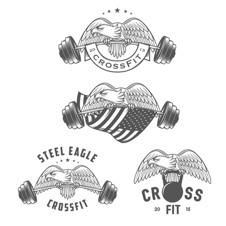 Set of vintage crossfit emblems and design elements