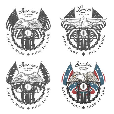 aguila americana: Conjunto de emblemas de motos vintage y elementos de diseño