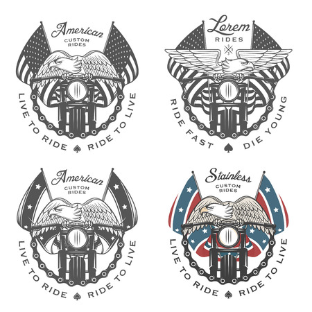 Set of vintage motorcycle emblems and design elements