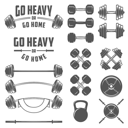 barbell: Set of vintage gym equipment quotes and design elements