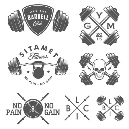 barbell: Set of vintage gym emblems labels and design elements