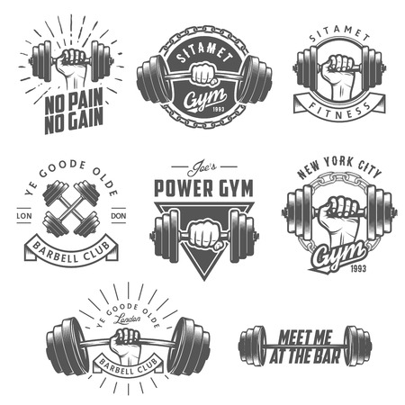pesas: Conjunto de gimnasio vendimia emblemas etiquetas y elementos de dise�o Vectores