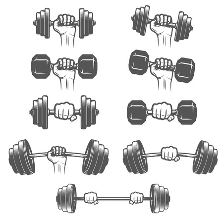 Set of vintage hands with dumbbells Vettoriali