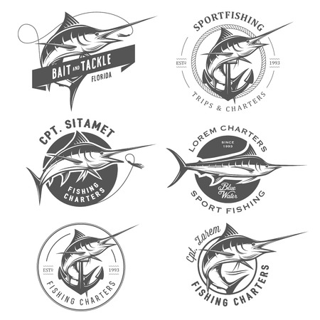 pez espada: Conjunto de pesca de la aguja emblemas distintivos y elementos de diseño