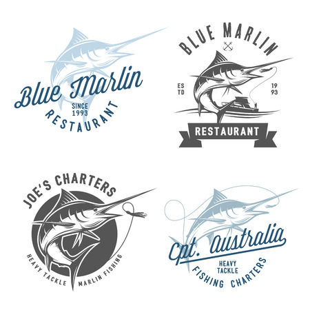 fishing catches: Set of marlin fishing emblems badges and design elements