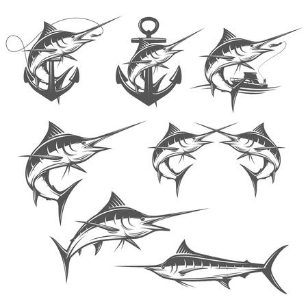 barca da pesca: Set di pesca marlin emblemi distintivi ed elementi di design Vettoriali
