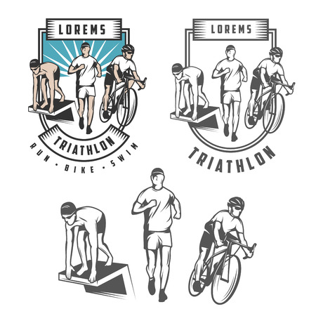 Triathlon emblems and design elements 向量圖像