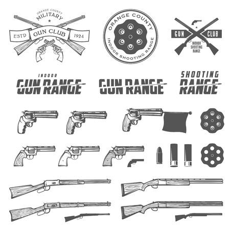 Conjunto de etiquetas de armas retro, emblemas y elementos de diseño Ilustración de vector