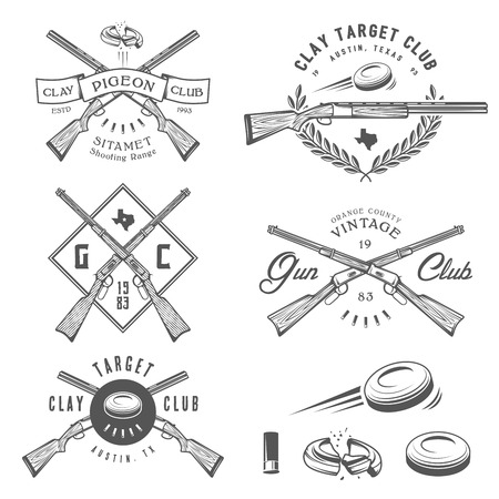 pigeons: Set of vintage clay target and gun club labels, emblems and design elements