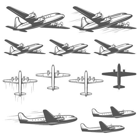 piloto de avion: Aeroplanos de la vendimia desde diferentes ángulos