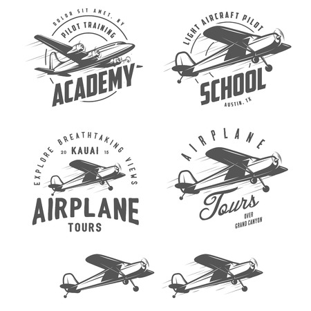 air travel: Light airplane related emblems, labels and design elements