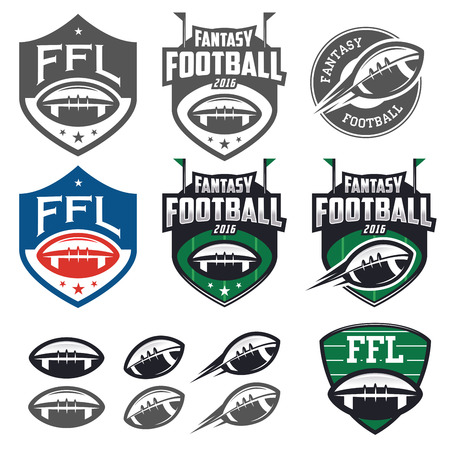 in action: American football fantasy league labels, emblems and design elements Illustration