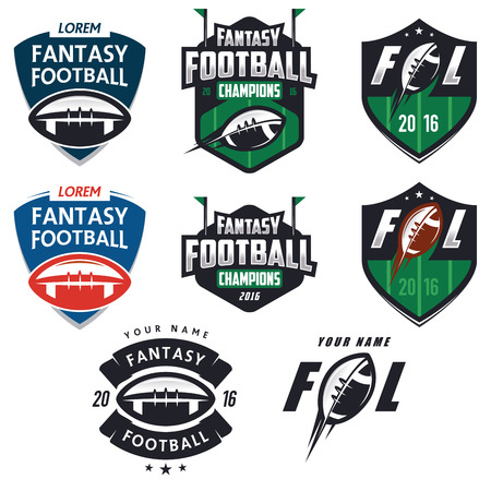 deportes colectivos: Etiquetas de la liga de fantas�a de f�tbol americano, emblemas y elementos de dise�o