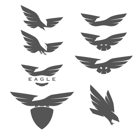 hawks: Set of negative space emblems with eagles