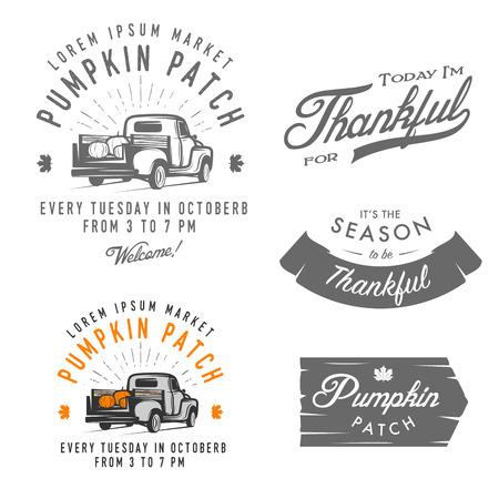 camion: Conjunto de emblemas de la vendimia del Día de Acción de Gracias, los signos y elementos de diseño Vectores