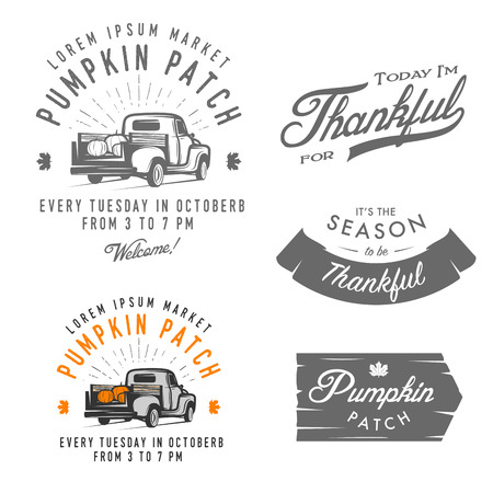 happy farmer: Set of vintage Thanksgiving Day emblems, signs and design elements