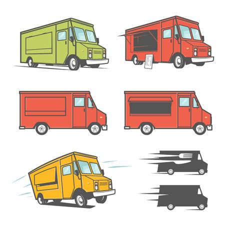 camion: Conjunto de camiones de comida desde varios ángulos, iconos y elementos de diseño Vectores